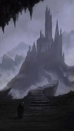 Digital Painting / Concept Art / Landscape / Castle / SciFi / Science Fiction / Other Planet / Future / Surreal / Mystic / Fantasy. Gothic Castle, Dark Castle, Fantasy Castle, Gothic Fantasy Art, Fantasy Kunst, Medieval Fantasy, Final Fantasy, Concept Art Landscape, Fantasy Landscape
