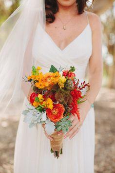 orange and yellow #bouquet, photo by Matthew Morgan http://ruffledblog.com/southwestern-san-clemente-wedding #flowers #orange #wedding