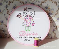 Pembe Kreasyon: Bebek Odası İçin Nakışlı Pembe Kasnak Pano-Bebek odaları için kasnak pano, nakış nasıl yapılır, embroidery do it, embroidery pattern, brezilya nakışı, isimli bebek odası kapı süsü, bebekler için hediyeler, aplike