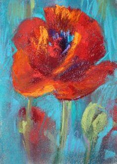 """A Red Poppy pastel"" - Original Fine Art for Sale - © Karen Margulis Soft Pastel Art, Pastel Artwork, Pastel Drawing, Watercolor Paintings, Original Paintings, Abstract Flowers, Pastel Flowers, Red Poppies, Flower Art"