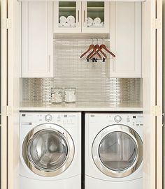 Keep your laundry privately by transforming a deep linen closet. Pinterest