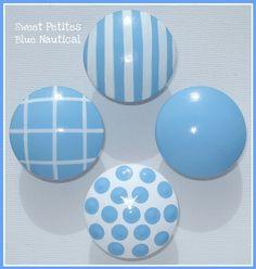 Hand Painted Knobs - Dresser Drawer Knobs - Stripes - Polka Dots - Baby Blue - White - Kids Dresser Knobs