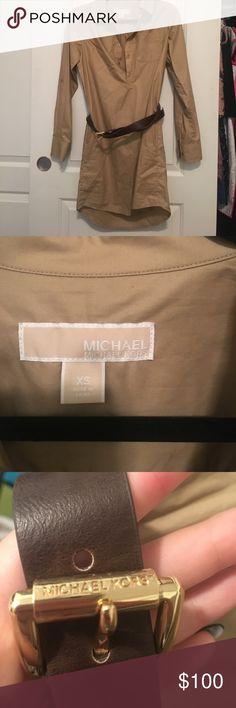 Michael Kors shirt dress with belt Never worn Michael Kors shirt dress with matching Michael Kors belt Michael Kors Dresses Long Sleeve