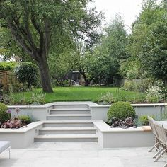 Summer Orchard Garden beds on a slope retaining walls Garden Stairs, Terrace Garden, Sunken Garden, Sunken Patio, Garden Walls, Balcony Gardening, Walled Garden, Garden Canopy, Garden Trees