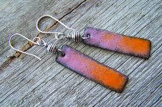 Copper Enamel Earrings Orange and Pink by EllianneEnamels on Etsy, $28.00