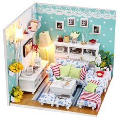 High Quality Qearly Handgefertigt Holz Miniatur Puppenhaus Geschenk Mini Haus DIY  Dollhouse Kit Moebel Mit Abdeckung Und LED Licht Kitten Tagebuch:  Amazon.de: Spielzeug