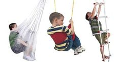 The Rainy Day Indoor Playground has been an amazing investment (especially living in a small apartment!). There are various attachments that hook on to a bar installed in your doorway. My son loves the net swing. The Playground is great for motor skills, sensory input, and exercise.
