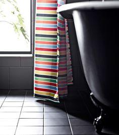 A multicoloured shower curtain.