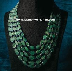 Emerald beads necklace designs with lakshmi pendnat , ganesh pendant multi layered emerald long chain designs Stone Jewelry, Gold Jewelry, Jewellery, Ruby Beads, Gemstone Beads, Emerald Necklace, Turquoise Necklace, Necklace Designs, Ring Designs