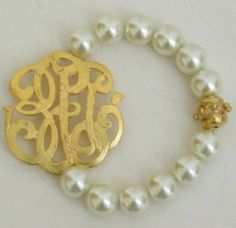 Monogrammed Pearl bracelet at www.facebook.com/peachesandbeaches
