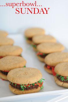 Brownie Burgers...these are so cute! Cookies that look like sliders.