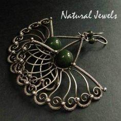 Sterling silver Earrings Bejewelled Jade - NaturalJewels - Jade