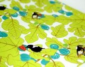 """100 % Organic Cotton fabric with leaves and cute birds - """"Magical Fruit"""" ( Fat Quarter)  - Ready to ship"""