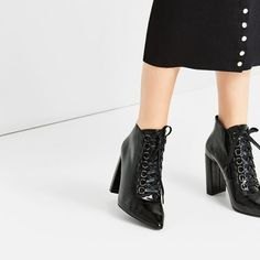 Image 1 of LACE-UP HIGH HEEL ANKLE BOOTS from Zara
