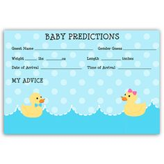 Waddle It Be Gender Reveal Predictions Card. Find matching duck baby shower invites, invitations, stationary, cards, Bingo and party games, recipe cards, thank you notes, and more for showers and parties at http://www.theinvitelady.com/products/waddle-it-be-prediction-card.