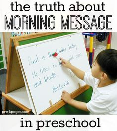 Pre-K Pages shares information and ideas for implementing a morning message routine in preschool or kindergarten classrooms.