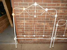 Antique Ornate Cast Iron Bed Headboard Footboard and Rails Twin Size Metal | eBay