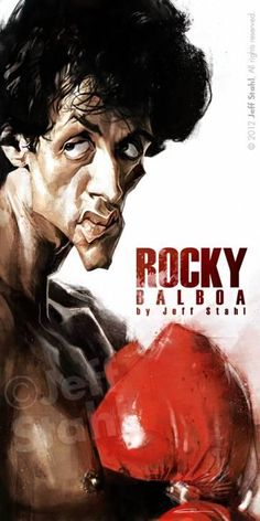 Caricature of Rocky Balboa by Jeff Stahl Cartoon People, Cartoon Faces, Funny Faces, Funny People, Cartoon Art, Rocky Balboa, Funny Caricatures, Celebrity Caricatures, Sylvester Stallone