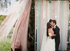wedding ceremony backdrop (in grey/purple sheer fabric).. would move nicely in the breeze and could be moved to behind the dessert table for the reception