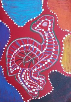 Dream Painters (Sept 2012): Australian Native Animals: Tia C (Y2). Colour sticks and acrylic paint.