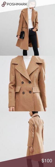 Women's Camel Coat - Brand New Beautiful women's camel coat! Brand new. Wool blend with raw edges. ASOS Jackets & Coats Trench Coats