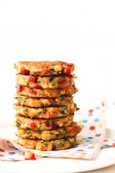 These rainbow fritters are perfect for kids or for baby-led weaning. Packed with veggies for nutrients & eggs and chickpea flour for protein. Gluten free.