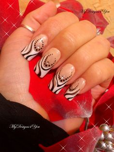 Gorgeous black and white french nails. For tutorial visit www.youtube.com/user/MyDesigns4You