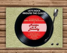 Vinyl Record 50th Wedding Invitations 4x6 or 5x7 Flat Card Printed 4-Color Process on One side Printed on 110lb gloss cover stock Bright White Envelopes Are Included
