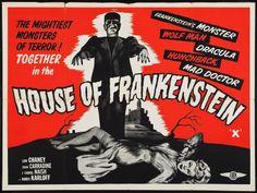 House of Frankenstein - Vintage Horror Movie Posters Horror Movie Posters, Classic Movie Posters, Horror Movies, Film Posters, Music Posters, Scary Movies, Horror Art, Vintage Advertising Posters, Vintage Travel Posters