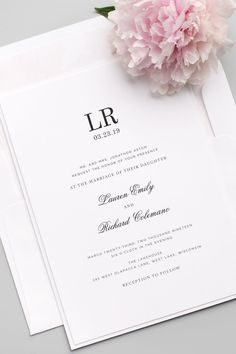 Simple and Classic Monogram Wedding Invitations with a Blush Pink Floral Watercolor envelope liner. Click to personalize!