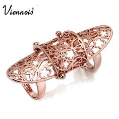 Viennois Rose Gold Patterns Full Finger Joint Armor Knuckle Ring New VR681