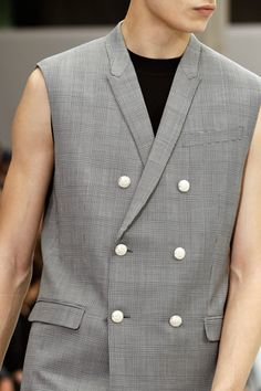 Got a stain on your sleeve? Fix it in a flash with a pair of scissors! It's what the fashionable executive/body builder is wearing on Just-A-Touch-Too-Casual Fridays. Dior Homme Spring 2013 Menswear