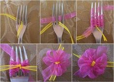 How to DIY fork bow quickly ? Here is a quick and easy way that will help you tie cute tiny bows .These unique bows work great with greeting cards. Ribbon Crafts, Ribbon Bows, Diy Crafts, Ribbon Flower, Diy Ribbon, Ribbons, Organza Ribbon, Homemade Crafts, Fork Bow