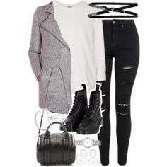 gray coat, white sweater, black skinny jeans, black combat boots
