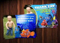 Finding Nemo Birthday Party Invitation and Thank You Card - Printable File