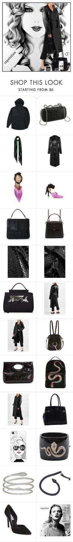 """Taylor Swift All Black"" by yours-styling-best-friend ❤ liked on Polyvore featuring Attico, Urban Expressions, Fendi, Chloé, Donald J Pliner, Roberto Cavalli, MKF Collection, Casetify, Decadence and Steve Madden"