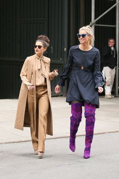 Danielle Campbell,Niki Taylor and Elizabeth Wheeland walking through the streets in New York City.