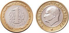 """Nova lira turca (2005-em uso) (x) 1 lira (2009-em uso) O: efígie de Mustafa Kemal Atatürk (1881-1938, primeiro presidente turco), em turco """"República da Turquia""""/R: valor;"""