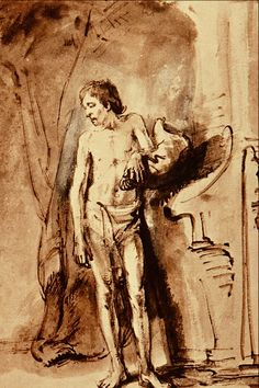 Standing Male Nude-Rembrandt Harmenszoon van Rijn ink and pen wash