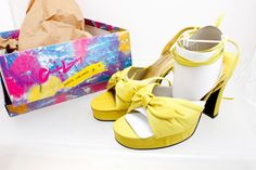 Chinese Laundry Platform high heels Peep Toe Strappy Lime Green size 9M…