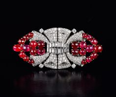 Cartier Ruby and Diamond Art Deco Brooch, 1920's