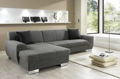 graues sofa mit schlaffunktion mit wunderbarem design Couch, Inspiration, Furniture, Home Decor, Design, Gray Sofa, Corner Sofa Gray, Living Room Ideas, Homes
