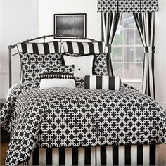 Black stripe pillow  HALEYTroy Black and White Bedding by Victor Mill