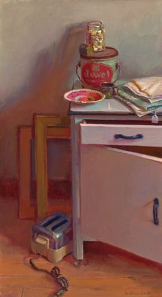 Still Life by Lea Wight Oil ~ x Look at the shadow colors of the can and jar on the wall and the handles on the drawer and cupboard door. This is so lovely. Painting Still Life, Still Life Art, Color Script, Arte Floral, Realism Art, Interior Paint, Interior Design, Room Paint, Oeuvre D'art