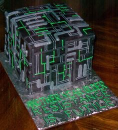 I know just who's birthday I want to make this for...  Star Trek Borg Cube Cake