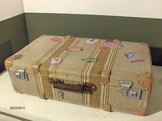 restaurar maleta antigua de tela y cartón