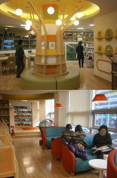 Korean children's library - like the post design, especially