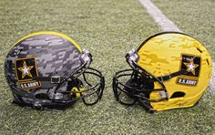 Two U.S. Army football helmets, representing both teams participating in the 2013 U.S. Army All-American Bowl, were on display at the Alamodome in San Antonio Jan. 3, 2013.