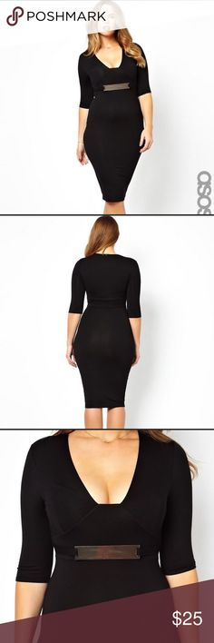 ASOS CURVE Bodycon Midi Dress With Gold Belt Only worn once for my birthday - and we'll you know since it was on social media I can't rock it again lol. Seriously - this is a great dress that deserves a great home. Gently worn (once). Like new condition! ASOS Curve Dresses Midi