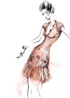 Studio sketch of craftsmanship, pattern and ostrich feathers. Today marks the launch of the Matthew Williamson party edit - dresses as perfect for black tie galas as bohemian house parties that run late into the night. Click to shop the beige lacquer lace feather dress.